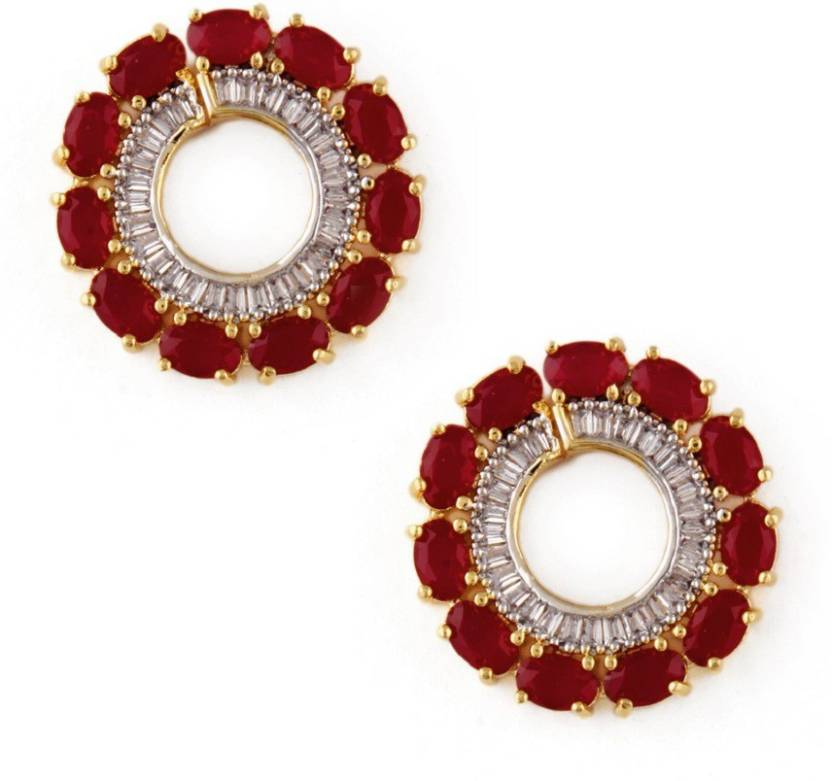 65e722b37 Flipkart.com - Buy RUBANS Finely Handcrafted Gold Plated CZ and Faux Ruby  Stone Studded Stud Earrings Metal Stud Earring Online at Best Prices in  India