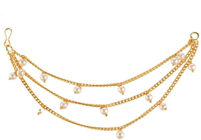 65da852a9 Efulgenz Efulgenz Fashion Jewellery Stylish Fancy Party Wear Traditional  Gold Plated Pearl Long Ear Kaan Chain