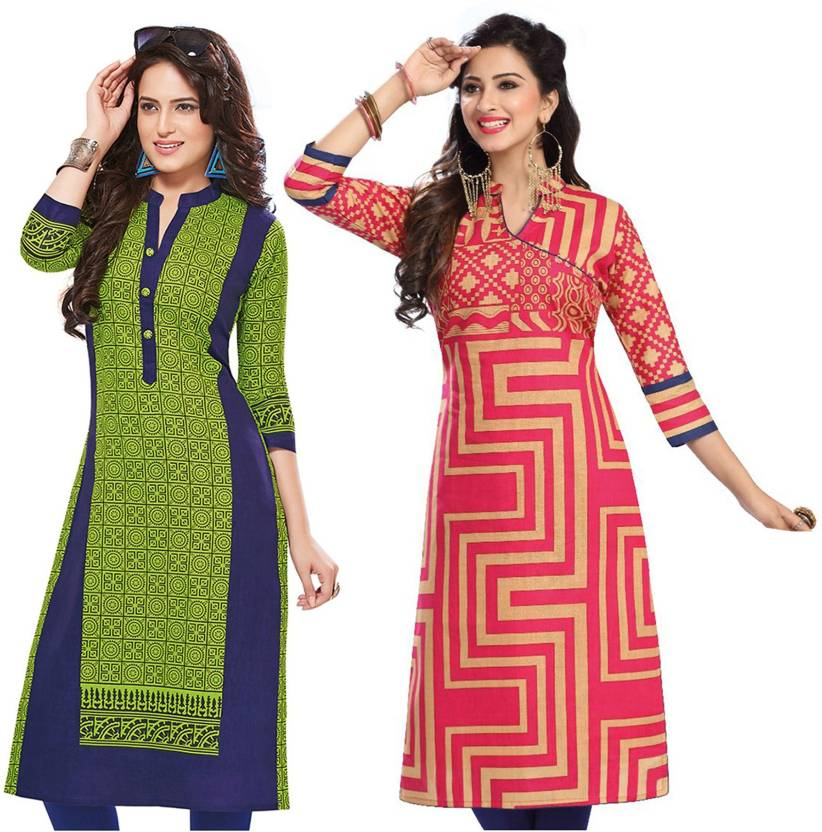 bec6c1ea9f FabTag - Giftsnfriends Cotton Printed Kurti Fabric Price in India ...