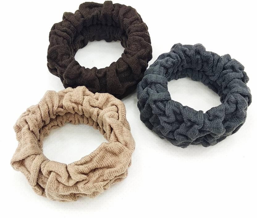 fairytale Premium Quality Soft Thick Cotton Hair Elastic Ponytail Holder  Set Of 3 pcs Rubber Band (Multicolor) ecb3630da20