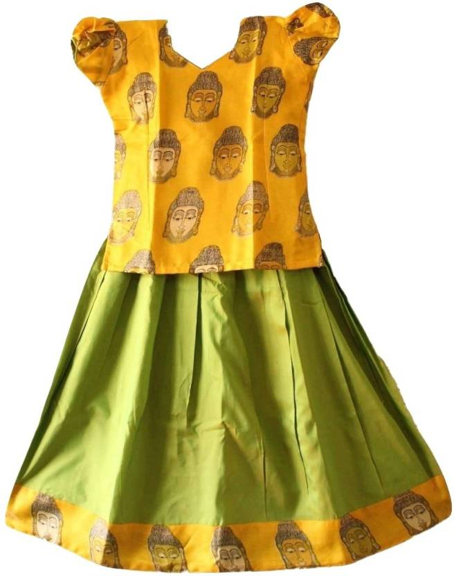 ed52e74e10 TrendyKidz Girls Lehenga Choli Ethnic Wear Printed Lehenga Choli (Yellow,  Pack of 1)