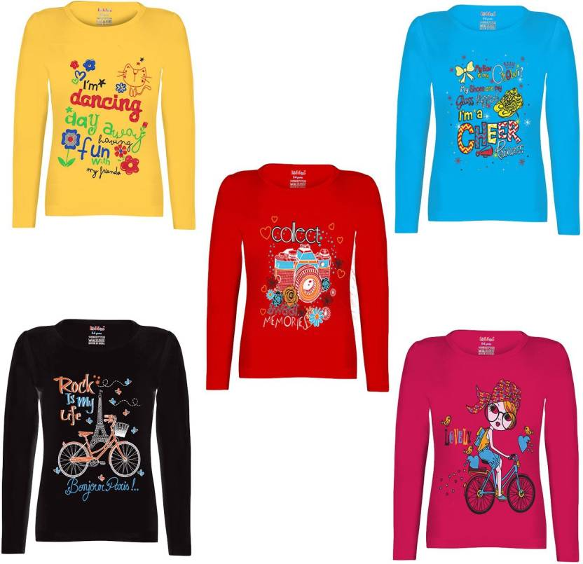 ff1be623 FabTag - Kiddeo Girls Printed Cotton T Shirt Price in India - Buy ...