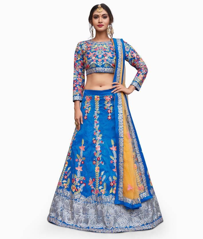 3f88bd8401 Rozy Fashion Embroidered Semi Stitched Lehenga, Choli and Dupatta Set  (Multicolor)