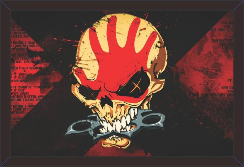 08a8ef78a5 Mad Masters Mad Masters FIVE_FINGER_DEATH_PUNCH heavy metal hard rock bands  skulls dark 1 Piece wooden framed ...