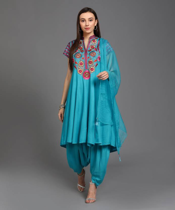 60a852c53c Biba Embroidered Kurta & Dhoti Pant - Buy LIGHT BLUE Biba ...