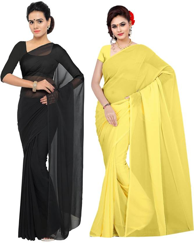e897bc5794 Sidhidata Plain, Solid Daily Wear Georgette Saree (Pack of 2, Black, Yellow)