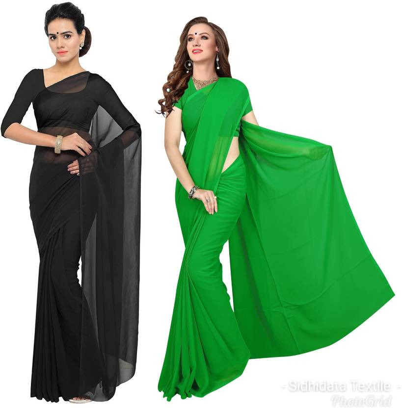 75338111b025d0 Sidhidata Plain, Solid Daily Wear Georgette Saree (Pack of 2, Black, Green)
