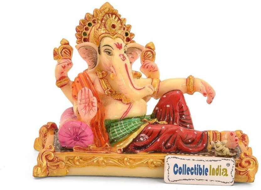 Ganesha Wooden Sculpture Resting Ganesh Statue Elephant God Ganpati Figurine US