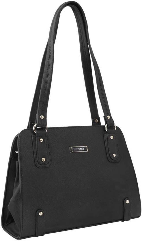 243fce4c90 Metro Women Formal Black Rexine Hand-held Bag 11