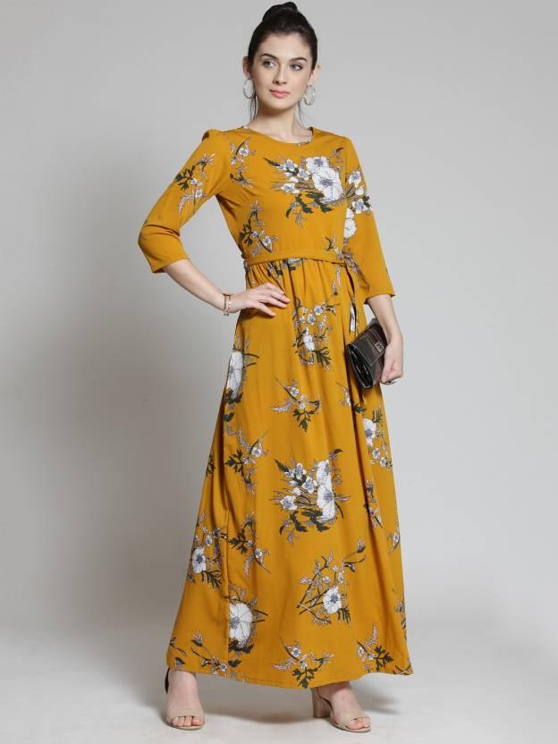 a8ce255c5a Pluss Women s Maxi Yellow Dress - Buy Pluss Women s Maxi Yellow Dress Online  at Best Prices in India