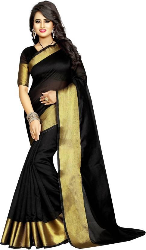 0fffbd19a4ea4 FabTag - Anugrah Plain Kanjivaram Cotton Saree (Black