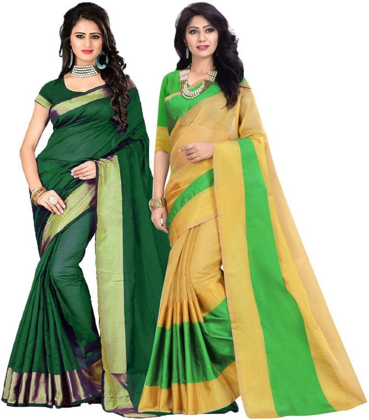 b6980c0f064316 FabTag - BAPS Solid Bollywood Cotton Silk Saree (Pack of 2
