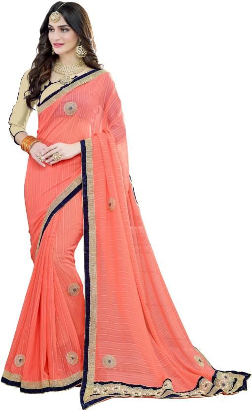 516d41130f6166 Buy BAPS Embroidered Bollywood Georgette Orange Sarees Online   Best ...