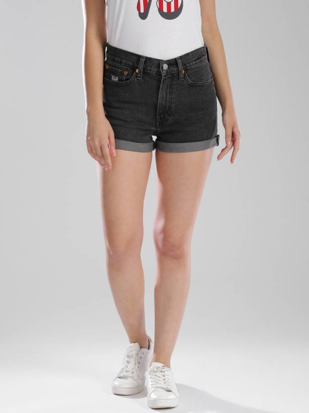 bfecec76c7 Levi's Solid Women's Black Basic Shorts - Buy Black Levi's Solid ...