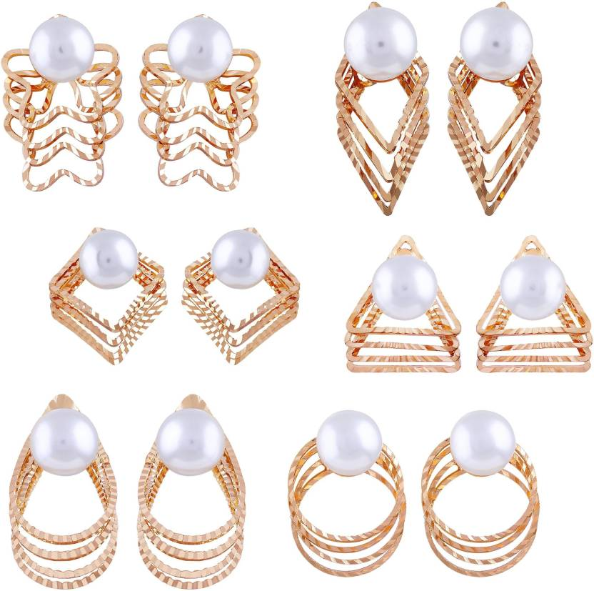 1bff1c511 Flipkart.com - Buy Asmitta Jewellery Lavish Geometry Shape With Pearl Gold  Plated Combo Of 6 Earring For Women Zinc Stud Earring Online at Best Prices  in ...
