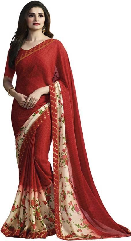 93e38054e5acbf Prabhatsilkmill Solid, Applique, Hand Painted, Printed, Digital Prints,  Floral Print, Geometric Print, Self Design Bollywood Silk Saree (Red)