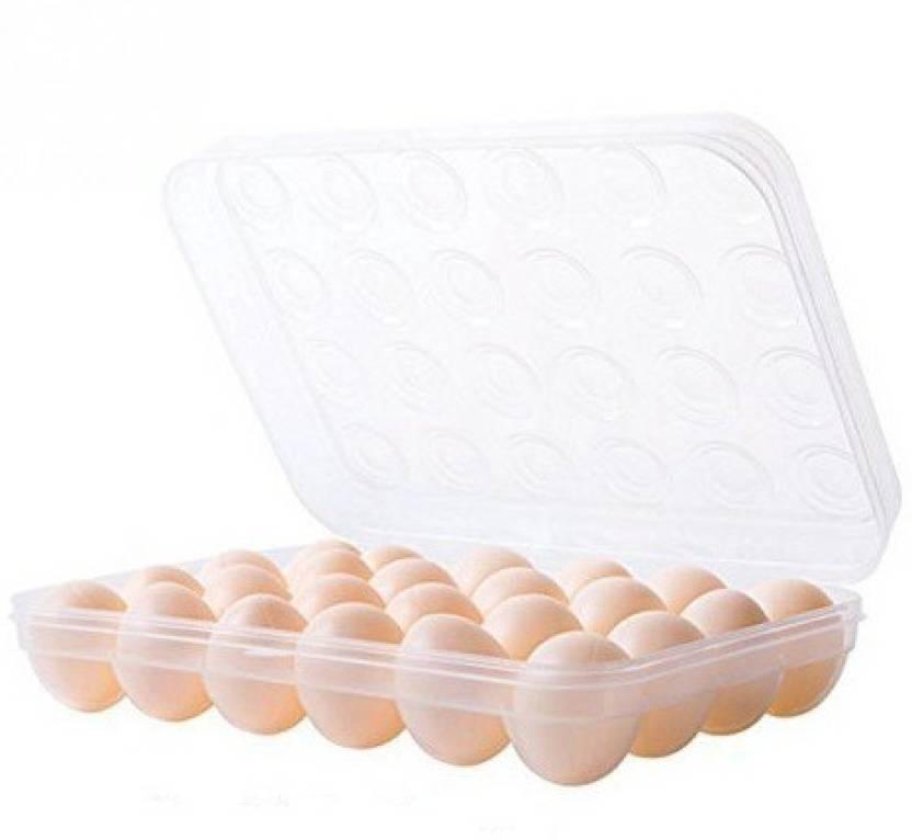 Lemish LM406 Clear Plastic Refrigerator Egg Storage Box Egg Holder Container Plastic Box 24 Grids Egg Holder Box Egg Storage Basket Storage Box (Multicolor)