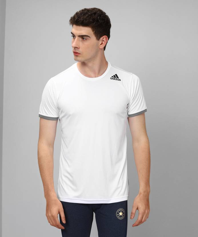 da0c24a1 Adidas Solid Men's Round Neck White T-Shirt - Buy WHITE Adidas Solid Men's  Round Neck White T-Shirt Online at Best Prices in India | Flipkart.com