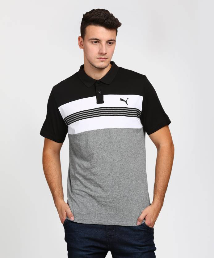 dee7cebd7d Puma Striped Men's Polo Neck Grey T-Shirt - Buy Black Puma Striped Men's  Polo Neck Grey T-Shirt Online at Best Prices in India | Flipkart.com