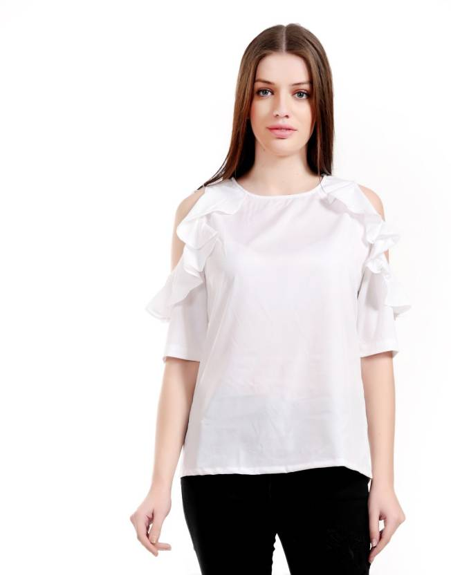 5be4aa653 Girls Shopping Casual 3 4th Sleeve Solid Women s White Top - Buy Girls  Shopping Casual 3 4th Sleeve Solid Women s White Top Online at Best Prices  in India ...