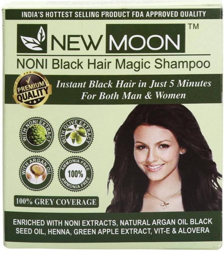 New Moon Pack Of 10 Pcs 15 Ml Noni Shampoo Black Hair Color