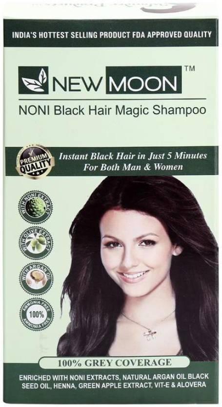 New Moon Noni Henna Herbal Hair Dye Shampoo 20 Sachets Brown Hair
