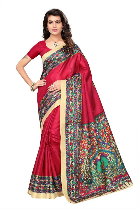 ebced8e3d7 Buy Active Printed Bhagalpuri Khadi Magenta Sarees Online @ Best ...