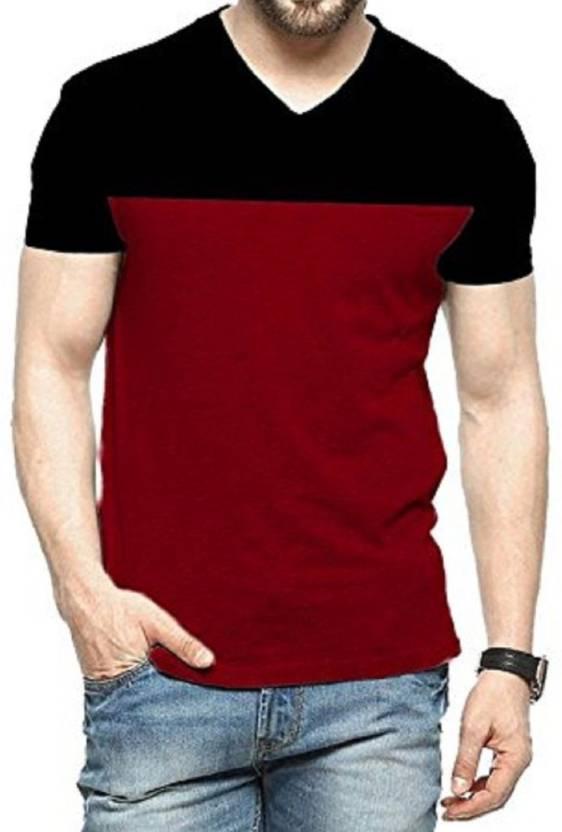 Yes No Color Block Men V Neck Red Black T Shirt Buy Yes No Color