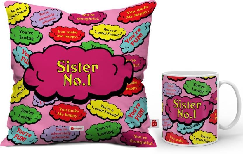 Indigifts Rakhi Gift Raksha Bandhan Happy Birthday For Sister Gifts Best D CM001 SIS17016 Cushion Mug Set Price