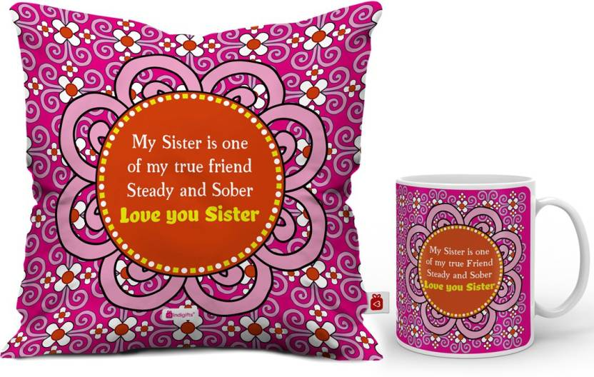 Indigifts Rakhi Gift Raksha Bandhan Happy Birthday For Sister Gifts Best D CM001 SIS17002 Cushion Mug Set Price