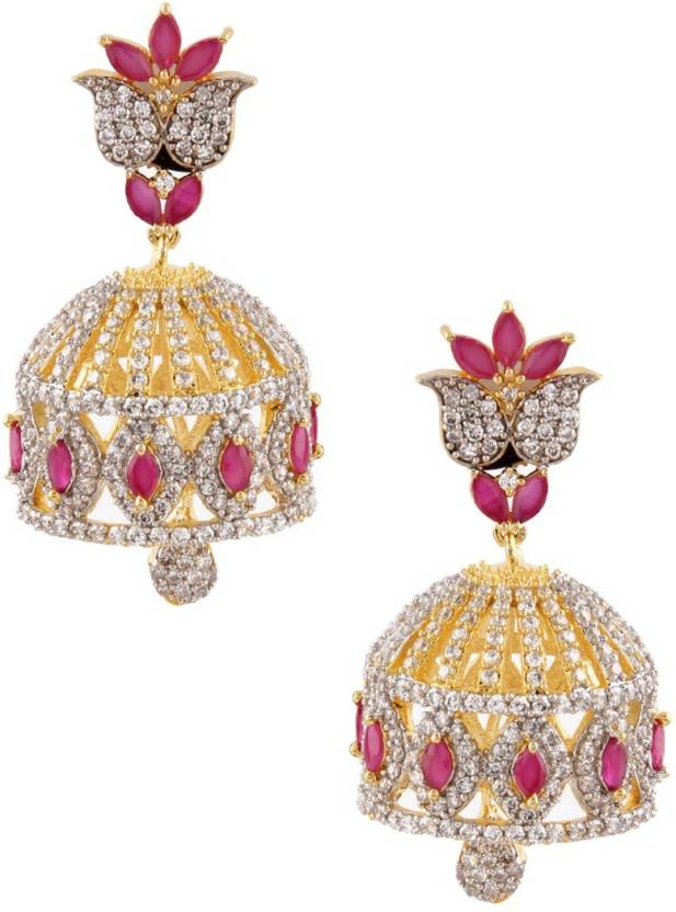 fc007cdbb Flipkart.com - Buy RUBANS Finely Handcrafted Gold Plated CZ and Faux Ruby  Studded Jhumka Earrings Metal Jhumki Earring Online at Best Prices in India