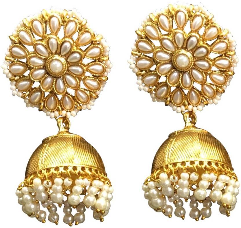 72276d4d9 Flipkart.com - Buy SejalFashions Indian Ethnic Traditional Gold Plated  Pearl Jhumka Jhumki Earrings for Women/Girls Pearl Brass Jhumki Earring  Online at ...