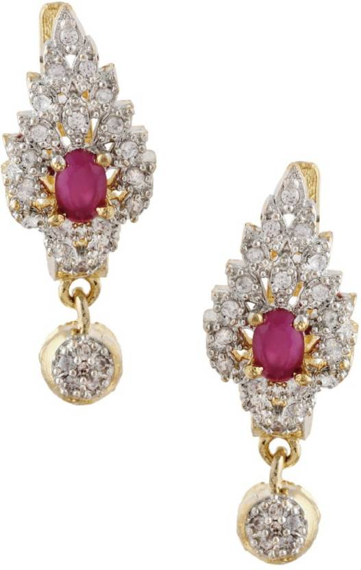 b63efb174 Rubans Finely Handcrafted Gold Plated CZ And Faux Ruby Studded Drop Earrings  Metal Drops & Danglers
