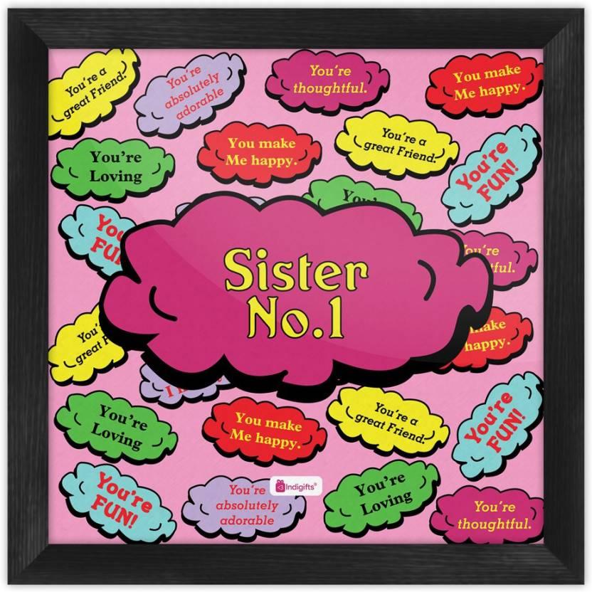 Gifts For Sister Raksha Bandhan Gift Happy Birthday Rakhi Poster With Frame S PSFSWBK01SQ06 SIS17016 Paper Print 6 Inch X