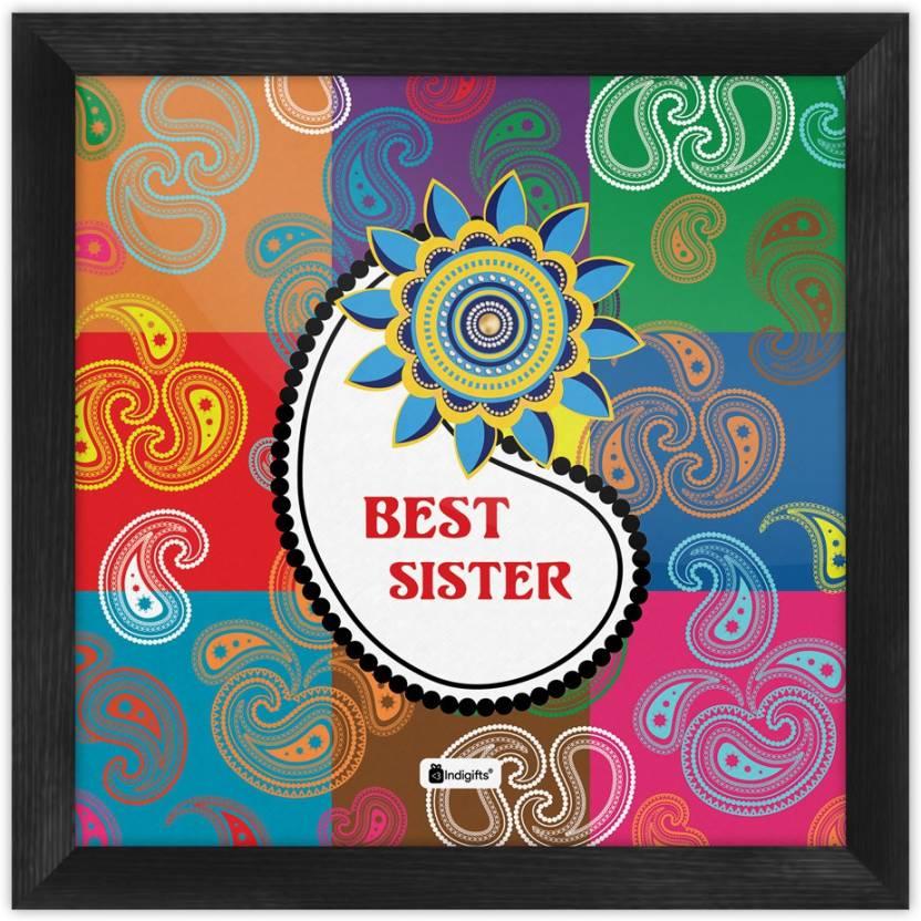 Gifts For Sister Raksha Bandhan Gift Happy Birthday Rakhi Poster With Frame S PSFSWBK01SQ08 SIS17012 Paper Print 8 Inch X