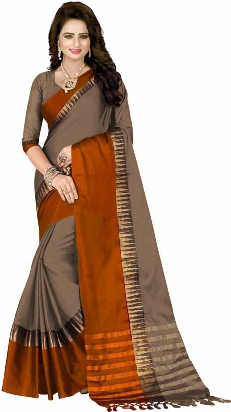 024b1144ffe Buy Villagius Self Design Coimbatore Cotton Silk Brown Sarees Online ...