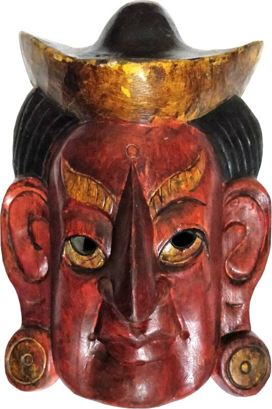 Bhunes Nepali Hand Crafted Wooden Mask Wooden Wall Hanging