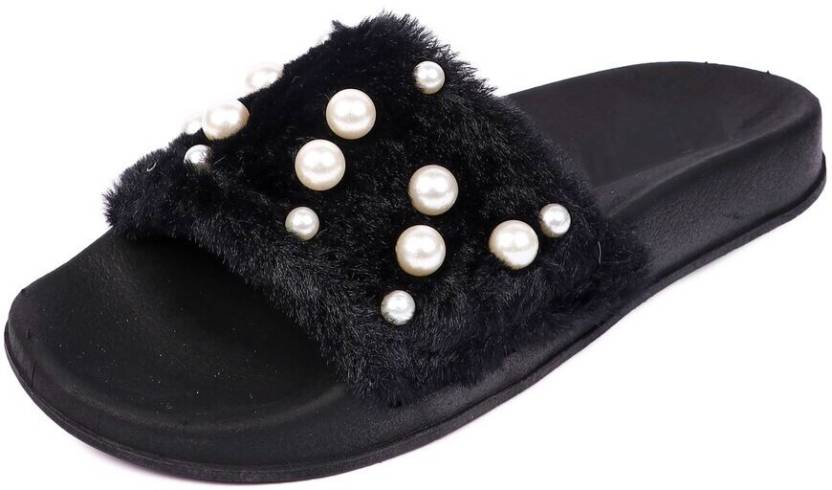 dba20e3fb67 Brauch Black Fur Pearl Sliders Slides - Buy Brauch Black Fur Pearl Sliders  Slides Online at Best Price - Shop Online for Footwears in India