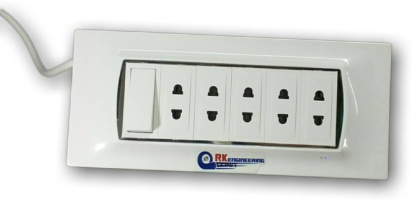 RK ENGINEERING Extension Board With 5 Outlet Points 5A Plus 1 Master Control Use Only 2 Pin Plug Appliances Up To 1200 Watts Meter Cable Socket