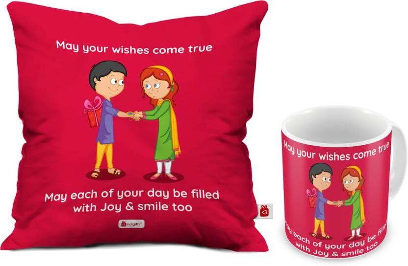 Indigifts Gifts For Sister Birthday Brother Rakhi Gift Raksha Bandhan Best IDSCOMAF307 Cushion Mug Set Price In