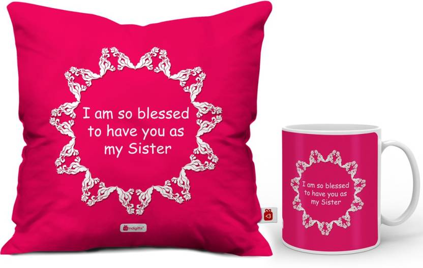 Indigifts Rakhi Gift Raksha Bandhan Happy Birthday For Sister Gifts Best IDSCOMAF362 Cushion Mug Set Price In