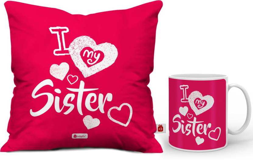 Indigifts Rakhi Gift Gifts For Sister Birthday Raksha Bandhan Marriage IDSCOMAF366 Cushion Mug Set Price In