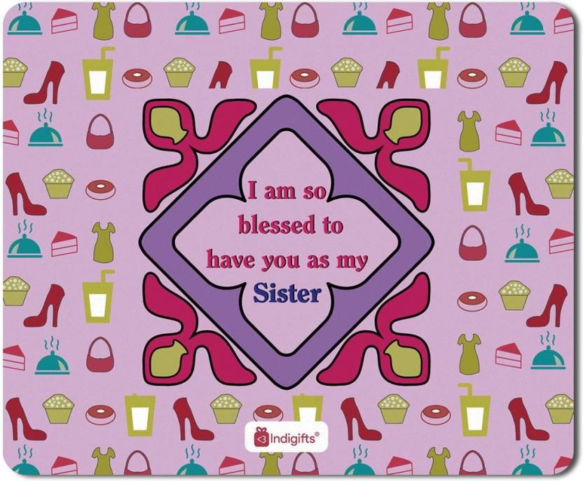 Indigifts Gifts For Sister Raksha Bandhan Gift Happy Birthday Rakhi Mousepad S MPDRBBK01RTMP SIS17008 Multicolor