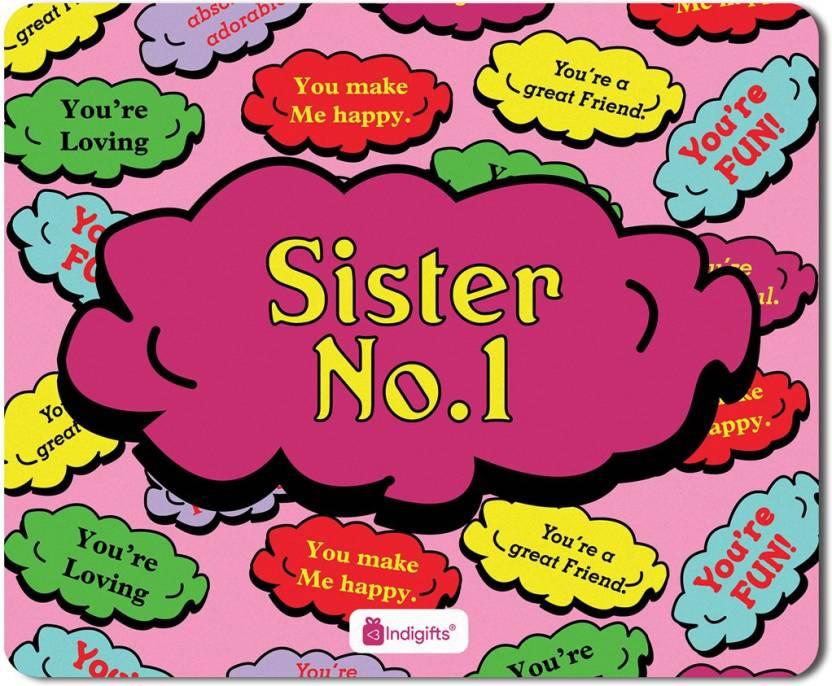 Indigifts Gifts For Sister Raksha Bandhan Gift Happy Birthday Rakhi Mousepad S MPDRBBK01RTMP SIS17016 Multicolor