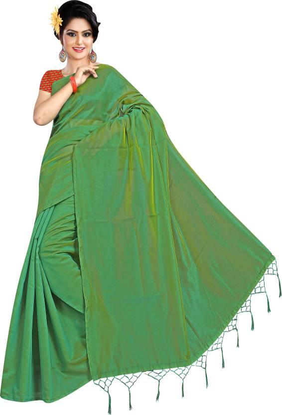 edf4e22d1d8 Buy sarvagny clothing Plain Bollywood Cotton Silk Green Sarees ...