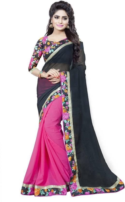 15144c4ee921a3 FabTag - Aashvi Creation Floral Print Fashion Georgette Saree (Black