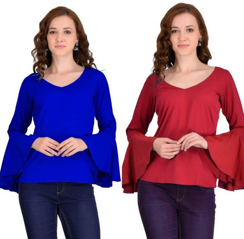 ae913b5194fe2 VAANYA Casual Bell Sleeve Solid Women s Blue