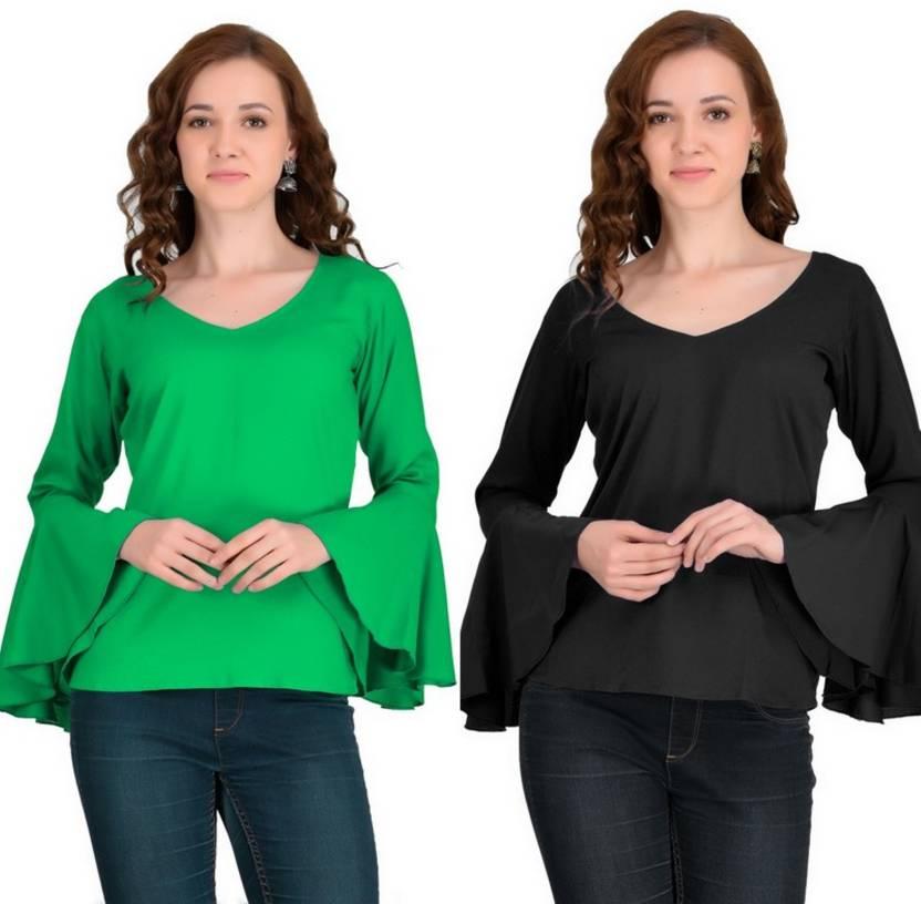 63006f906ff36 VAANYA Casual Bell Sleeve Solid Women s Green