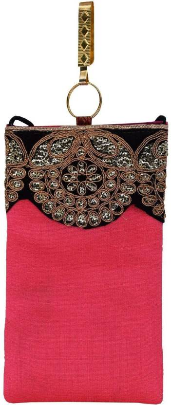 54e457dec1 Bagaholics Ethnic Raw Silk Embroidery Saree Clutch Mobile Pouch with Waist  Clip Ladies Purse Gift For