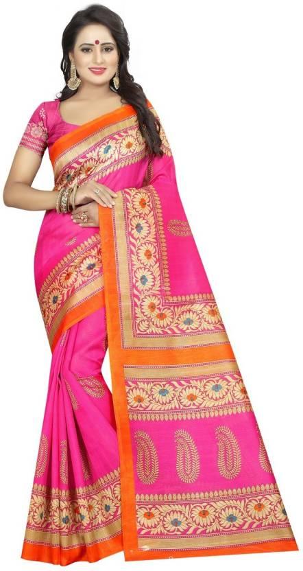4ee1bed0a1 Harikrishna Enterprise Floral Print, Paisley Fashion Cotton Silk Saree (Pink,  Orange)